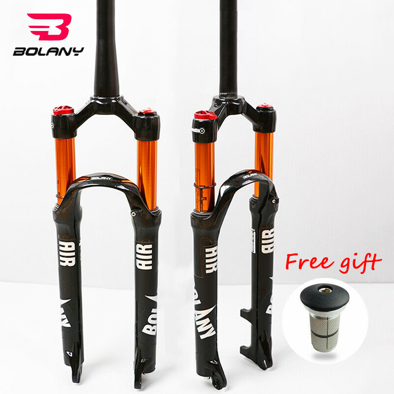 BOLANY Suspension Fork MTB Bike 26/27.5/29 Tapered/Straight Fork Disc Steerer Brake 100mm Travel QR Bicycle Air Forks image