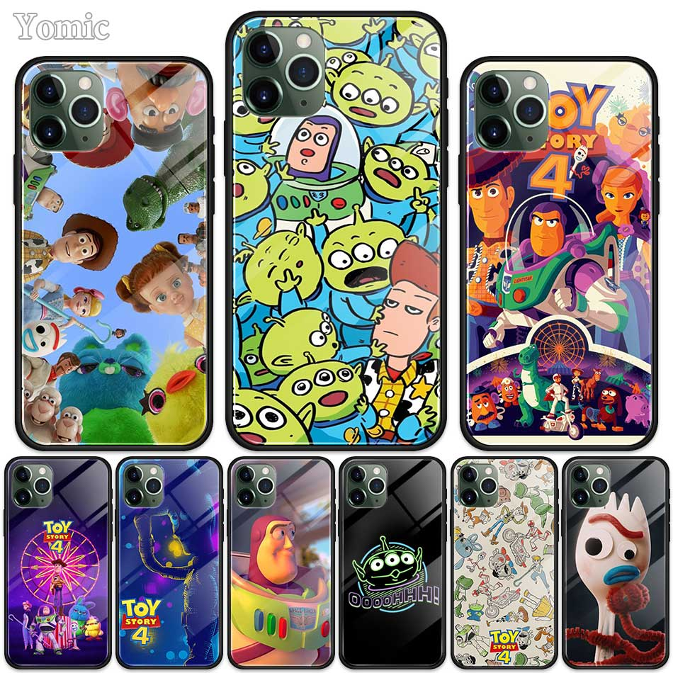 <font><b>Toy</b></font> <font><b>Story</b></font> Cases for Apple <font><b>iPhone</b></font> 11 Pro XR <font><b>6</b></font> 6S 7 8 Plus X XS MAX Black Soft Edge Tempered Glass Phone Cover Shell image