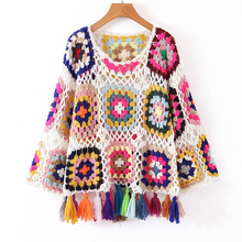KIYUMI Urban Gypsy Sweater Smock Women Loose Tassel Hand-knitted Tops For Woman 2019 Colorful Pullover Long Sleeve Ethic
