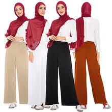 Abaya Muslim Wide Leg Pleated Pants Musulman Turkish Islamic Clothing Faldas Musulmanas