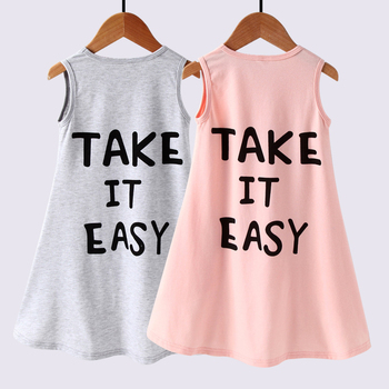 2020 Fashion Letter Printing Princess Dovetail Dress Summer Kid Cotton Sleeveless Sundress Children Party Clothes for Girls