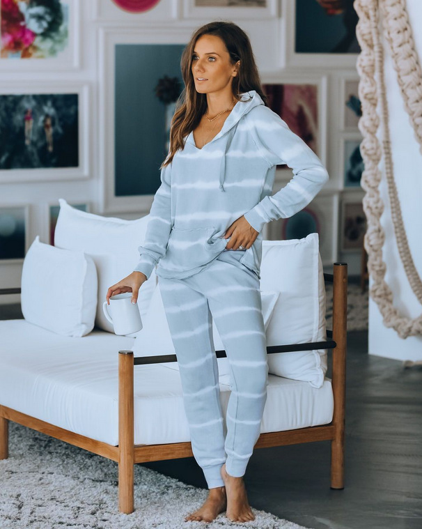 WEPBEL Women Clothes Set Home Wear 2-Piece Casual Suit Female Summer Long Sleeve Hooded Top + Long Pants Trousers Home Set