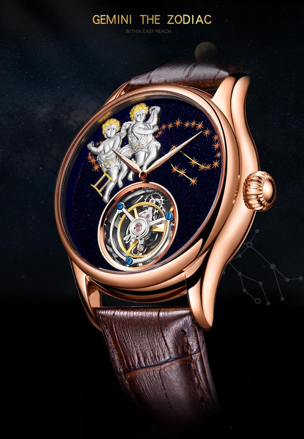 GUANQIN 2019 Real Tourbillon Mechanical Hand Wind Mens Watches Top Brand Luxury Gemini Clock men Gold Sapphire Relogio Masculino 2