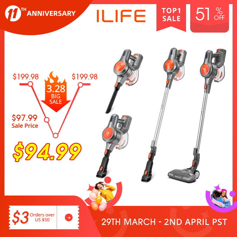 EASINE by ILIFE H70 Handheld Vacuum Cleaner, 21000Pa Strong Suction Power, 40Minutes runtimes, removable battery, 1.2L Dust box 1