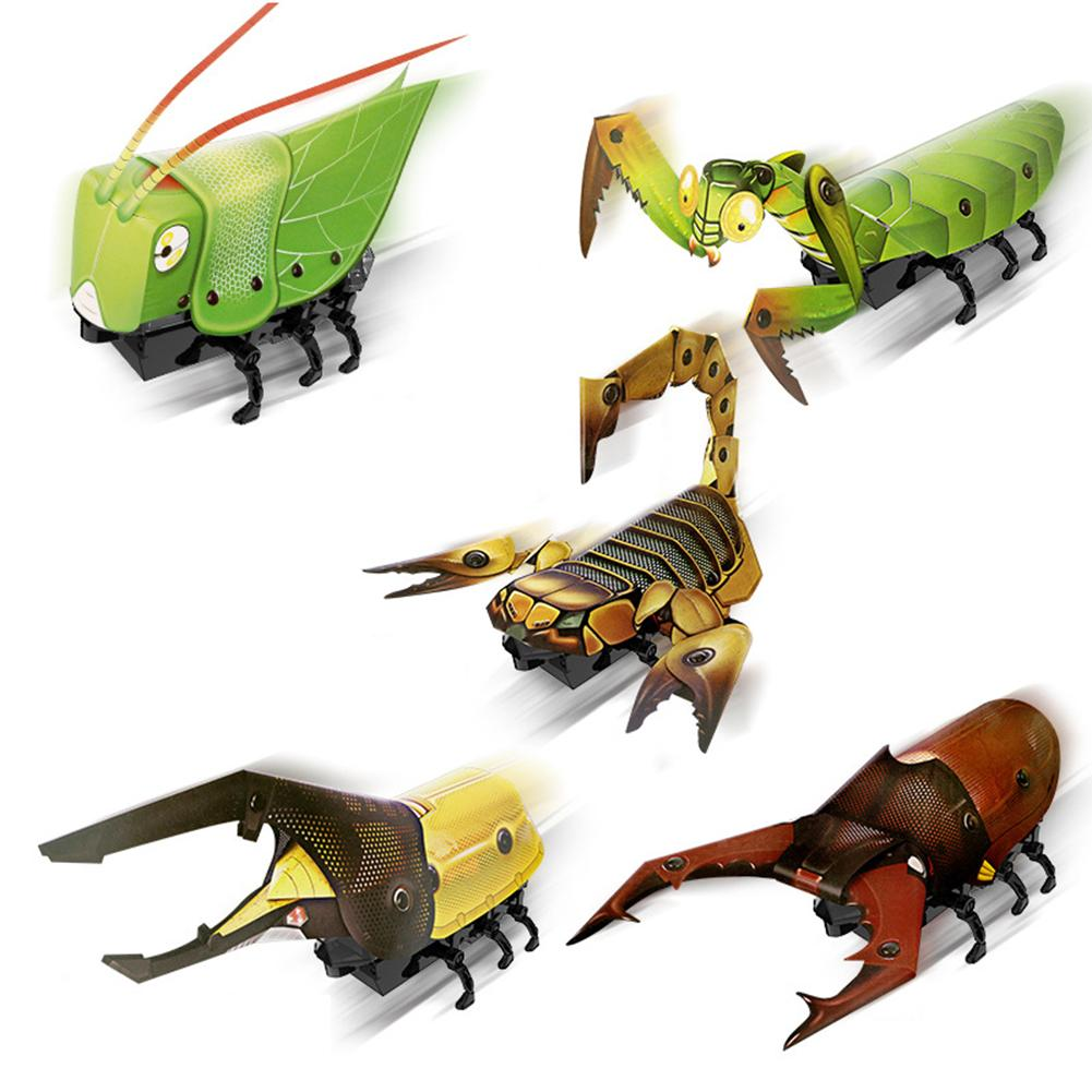 DIY Electric Walking Mantis Insect Sound Light Assembly Model Education Kids Toy