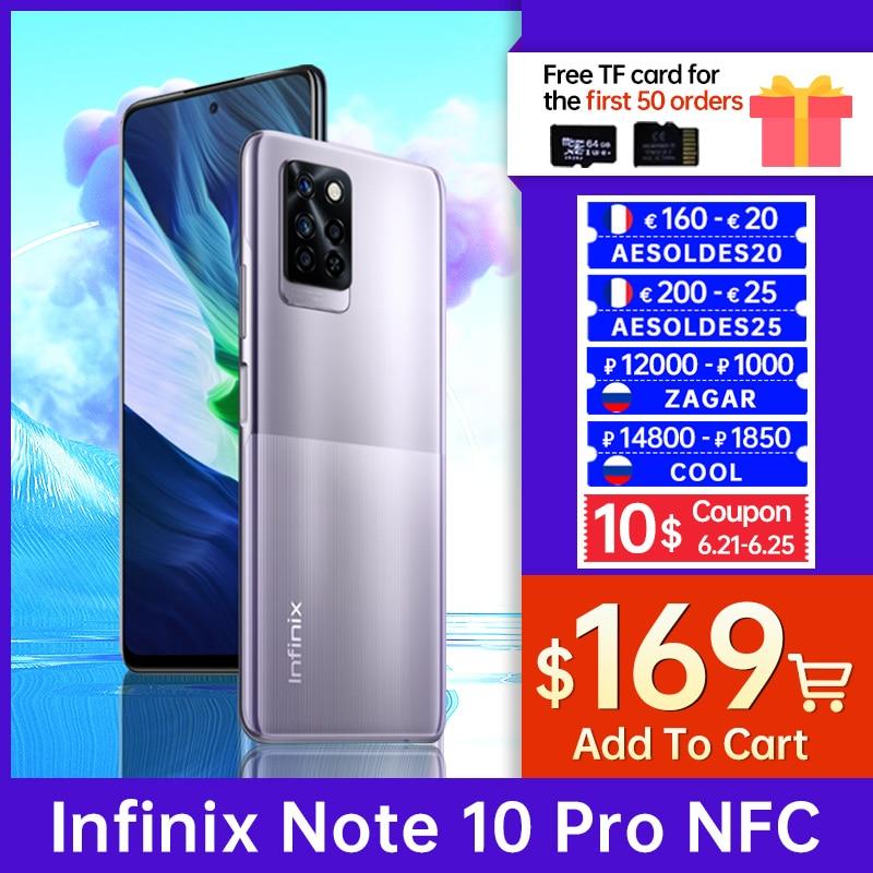 Оригинальный смартфон Infinix Note 10 Pro, NFC, 6 + 64/8 + 128 Гб, камера 64 мп, FHD дисплей 6,95 дюйма, Восьмиядерный процессор, Android, MediaTek Helio G95