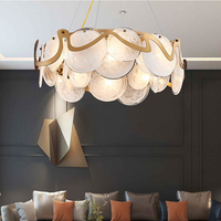 New LED glass chandelier ring living room dining room bedroom chandelier simple modern white / gray chandelier
