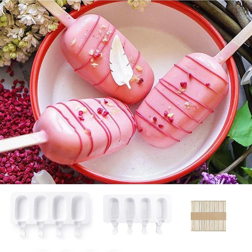 4-гнезда пресс-формы мороженое плесень многоразовые силиконовые формы льда поп DIY свежевыжатого фруктового сока десерт контейнер для льда ...