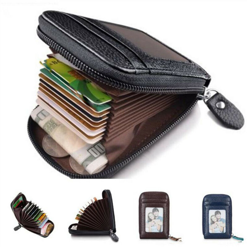 Pu Leather Business Smart Casual Card ID Holder Credit Card Case Mini Wallet RFID Blocking Zipper Thin Pocket