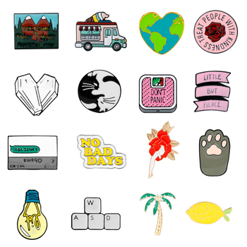 27 Styles Cartoon Brooches for Women Men Kids Ice cream truck Twin Peaks Pins  Brooch Enamel Pin Jeans Coat Bag Button Pin Gifts-Leather bag
