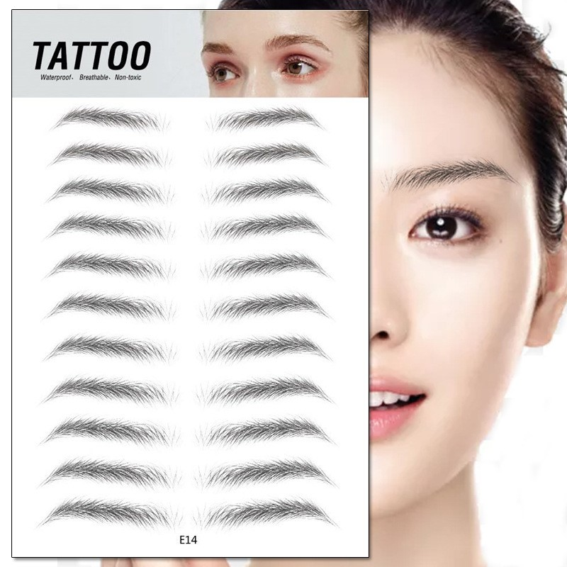 4D Hair-like Eyebrows Makeup Waterproof Lasting Eyebrow Tattoo Sticker Water-based Brow Stickers False Eyebrows Henna Cosmetics image