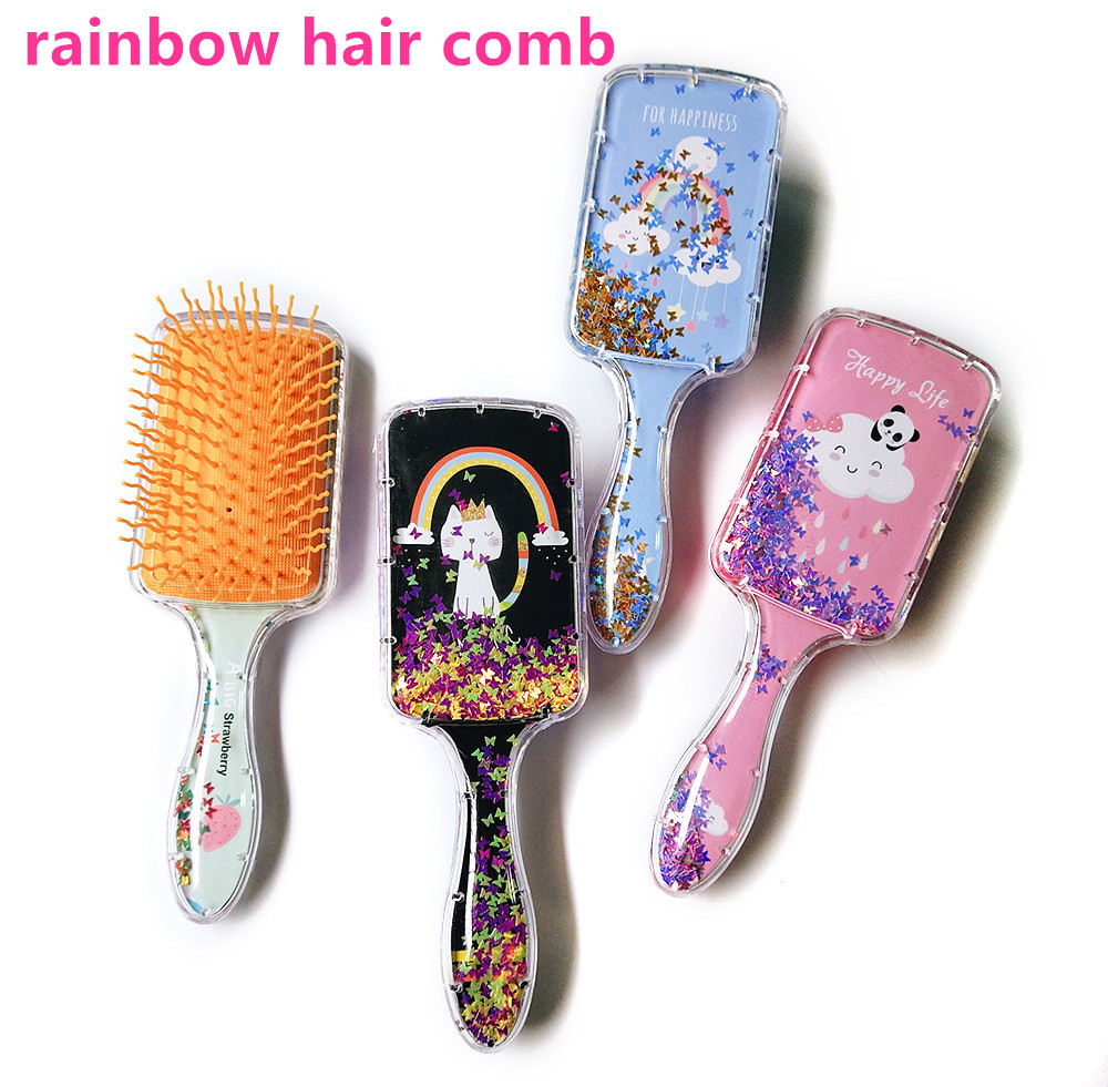 Rainbow Hair Comb Plastic Material Antistatic Fabric For Portable Comb Hair Accessories Rainbow Mermaid For Girls Hair Products