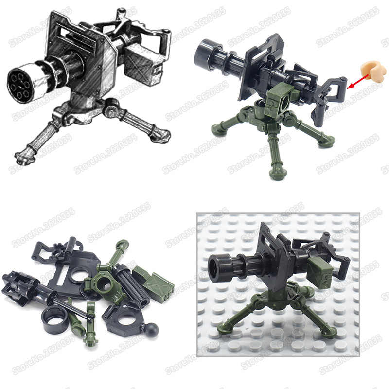 Legoinglys Military Gatlin Figures Building Blocks Heavy Machine Gun Weapons Assemble ww2 Special Forces Moc Child Christmas Toy