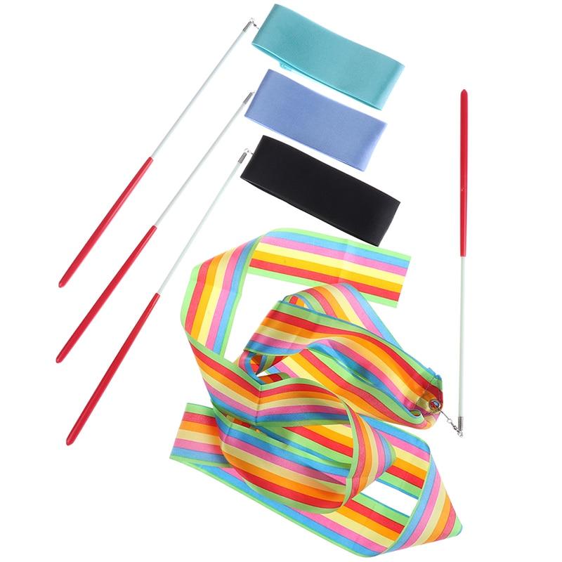 2 Meters Colorful Gym Ribbons Dance Ribbon Rhythmic Art Gymnastics Ballet Streamer Twirling Rod Rainbow Stick Training
