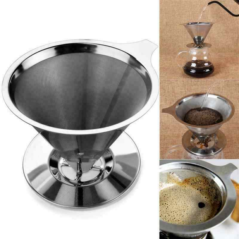 Stainless Steel Reusable Coffee Filter Holder Metal Mesh Funnel Baskets Drif Coffee Filters Dripper v60 Drip Coffee Filter Cup
