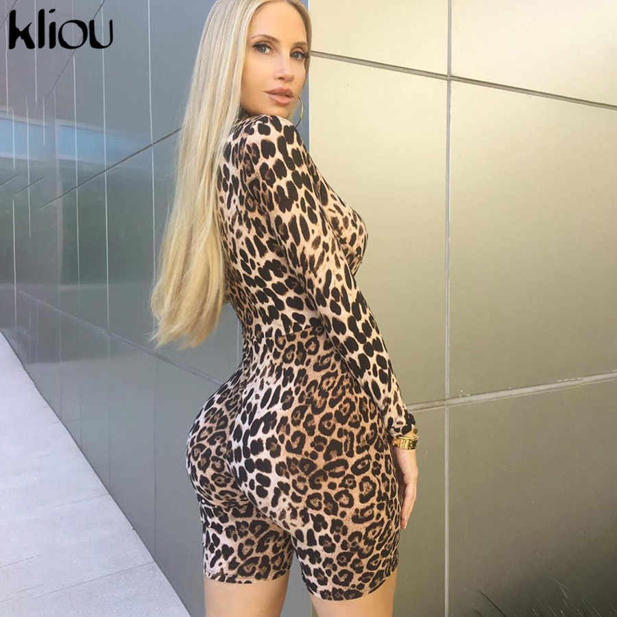 Kliou mulheres Leopardo playsuit macacão curto macacão de manga comprida magro magro outono nova corpo Leopardo moda festa clube bodysuit