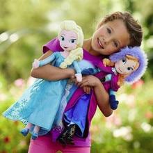Muñecas de peluche de Frozen para niñas, juguetes de felpa de la película Frozen, Princesa Anna de 50 cm, Reina de la nieve, peluches rellenos de algodón
