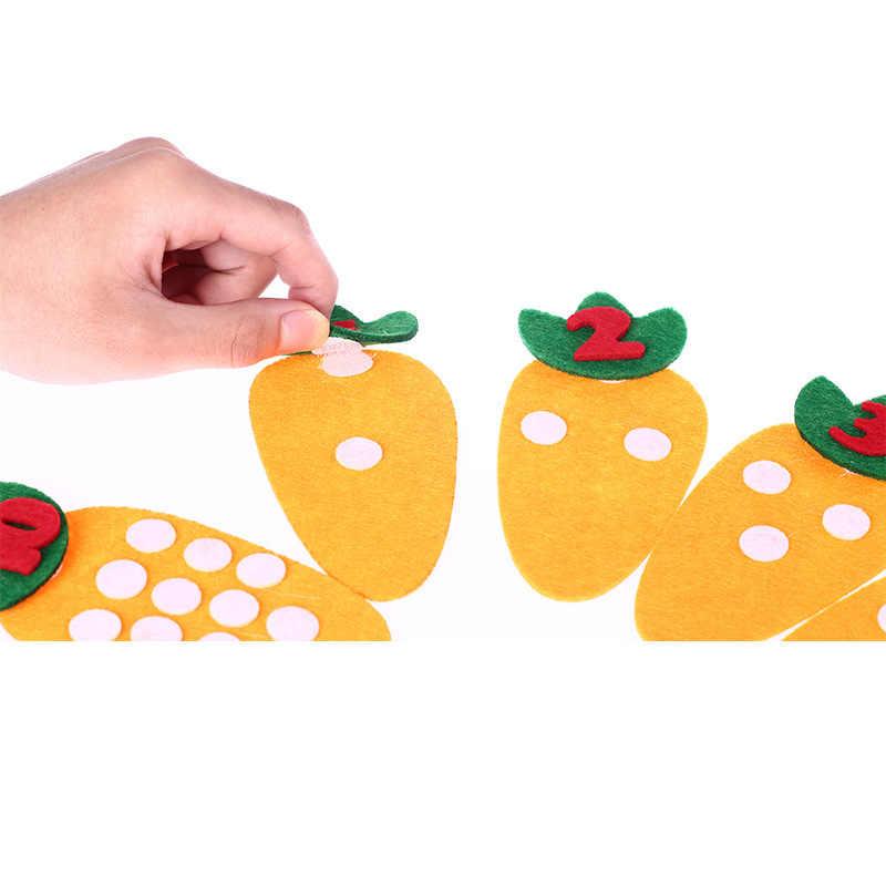 1-10 Montessori Educatief Speelgoed non-woven Kinderen Puzzel Handgemaakte DIY Math Speelgoed Kleuterschool Wortel Match Digitale Onderwijs aids