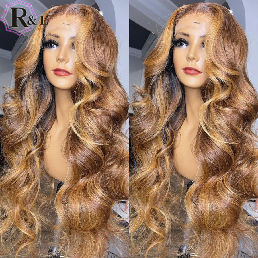 RULINDA Body Wave Lace Front Human Hair Wigs Highlight Ombre Color Brazilian Remy Hair Lace Wigs Pre-Plucked Middle Part