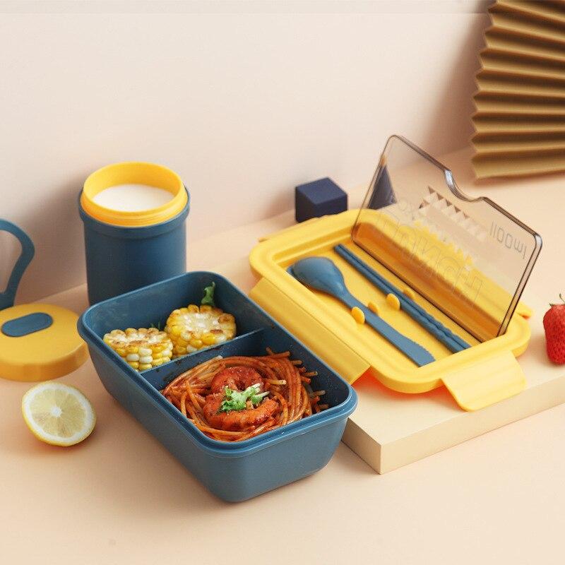 1100 мл микроволновая печь Коробки для обедов Портативный новая печь 2 Слои Еда контейнер здоровые обеда бенто Коробки наборы посуды