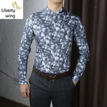 Business Men Floral Printed Shirts Long Sleeve Casual Party Tops Clothes Chemise Homme Slim Fit Spring New Office Work Man Shirt(China)