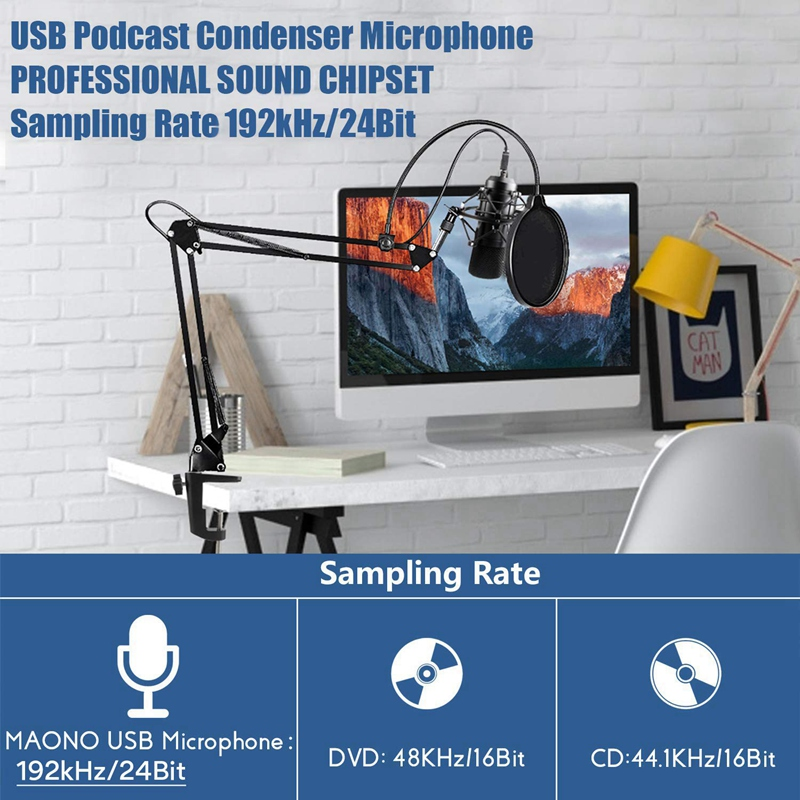 Usb Microphone Kit Usb Computer Cardioid Mic Podcast Condenser Microphone with Professional Sound Chipset for Pc Karaoke, Youtub image