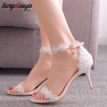 woman high heel prom evening pumps teal navy blue ankle strap ribbon tie satin bride bridesmaids wedding bridal shoes hc1610 White Heels Lace Bride Shoes Wedding Shoes sandals  ankle strap pumps women shoes 7.5CM Bridal Shoes Zapatos de mujer 33-42