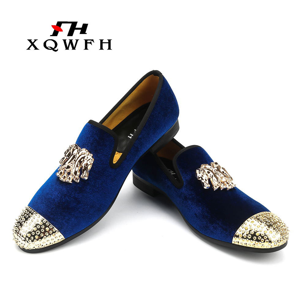 Handmade new gold toe men velvet loafers Italy brand party and wedding men dress shoes