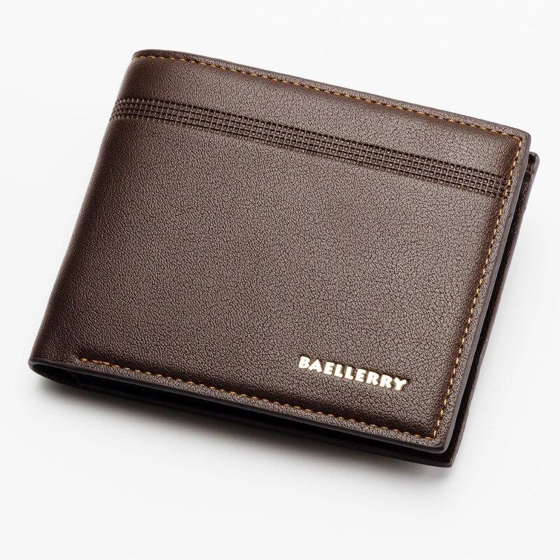 Baellerry Business Men Leather Brand Luxury Wallet Short Slim Male Purses Money Credit Card Dollar Folding Multi-function Wallet