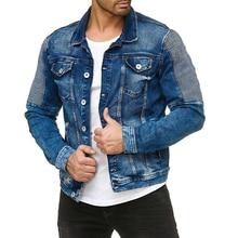 2019 Autumn Winter Casual Slim Mens Denim Jacket Fashion Fold Sleeve Bomber Jacket Men High Quality Cowboy Mens Jean Jackets