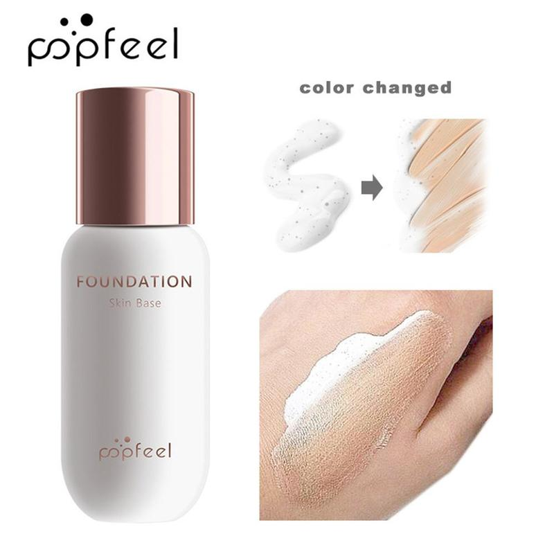 30ml POPFEEL Face Foundation Color Changing Liquid Foundation Oil-control Concealer Hydrating Lasting Facial Makeup Base Cream image