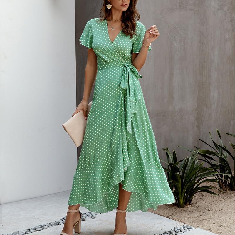 SWQZVT 2020 Fashion Short Sleeve Floral Print Women Dress New Ladies Beach Summer Dress Casual Women Long Maxi Dresses Vestidos (7)