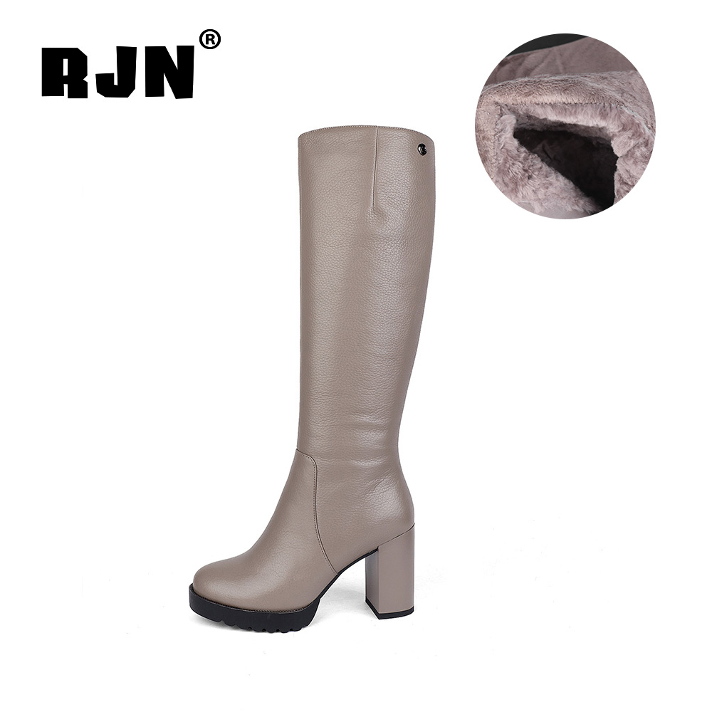 Buy RJN Wool Knee High Boots Genuine Leather Matel Decoration Round Toe Square Heel Zipper Shoes Women Long Boots For Winter R31