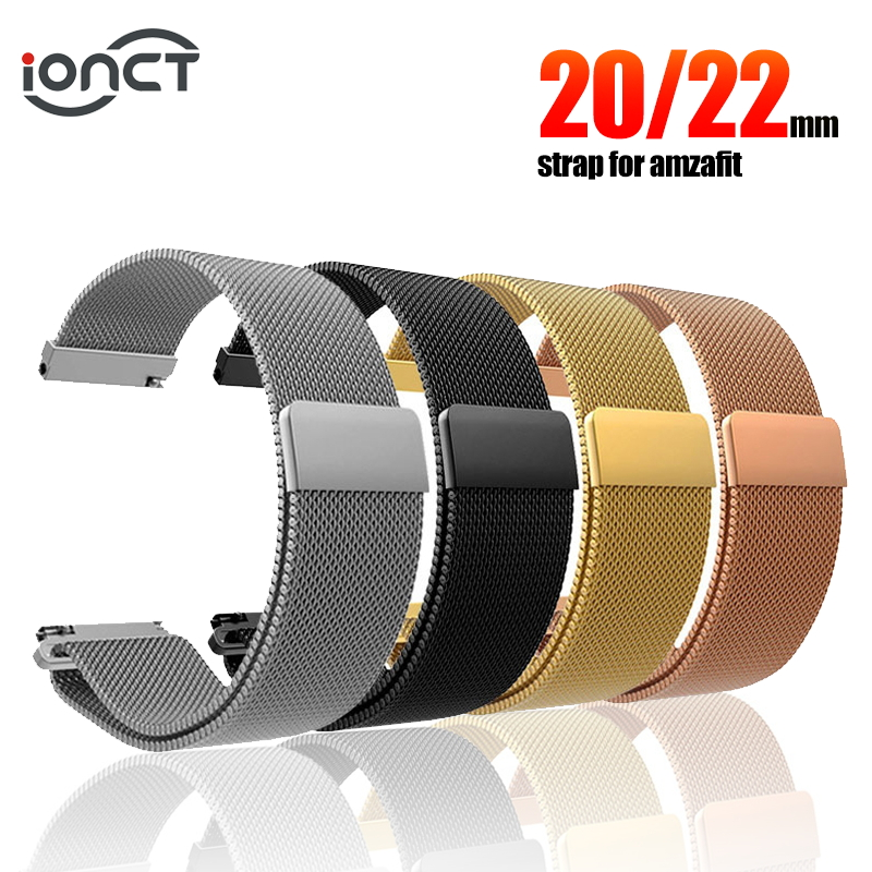 IONCT Milanese Metal Strap For Xiaomi Amazfit Bip Strap Watchband Bracelet For Huami Amazfit Pace Stratos 2 GTS GTR 47MM Strap