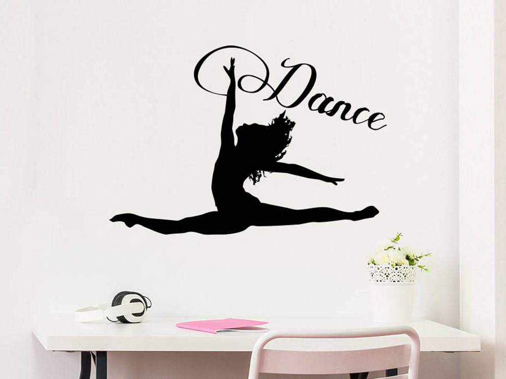 Dance Wall Decal Woman Girl Silhouette Dancing Gymnastics Acrobatics Vinyl Sticker Decals Home Decor Studio Dance Art <font><b>G731</b></font> image