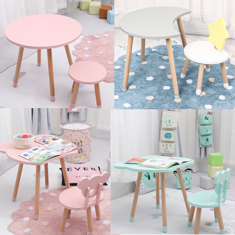 Drop Shipping High Quality Wooden Kids Study Table And Chair Kindergarten Chair Bureau Modern Wood Stool For Children Room Decor