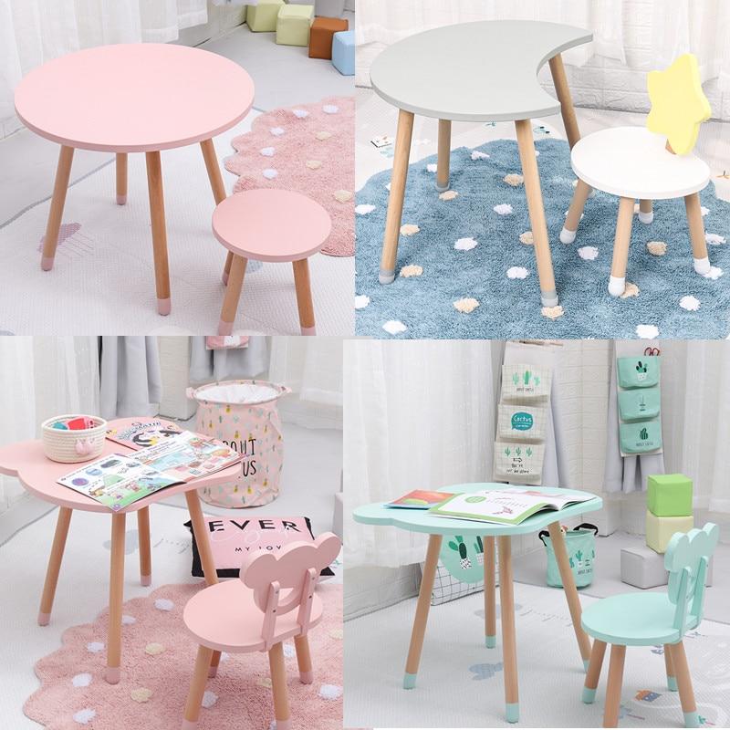 Drop Shipping High Quality Wooden Kids Study Table And Chair Kindergarten Chair Bureau Modern Wood Stool For Children Room Decor