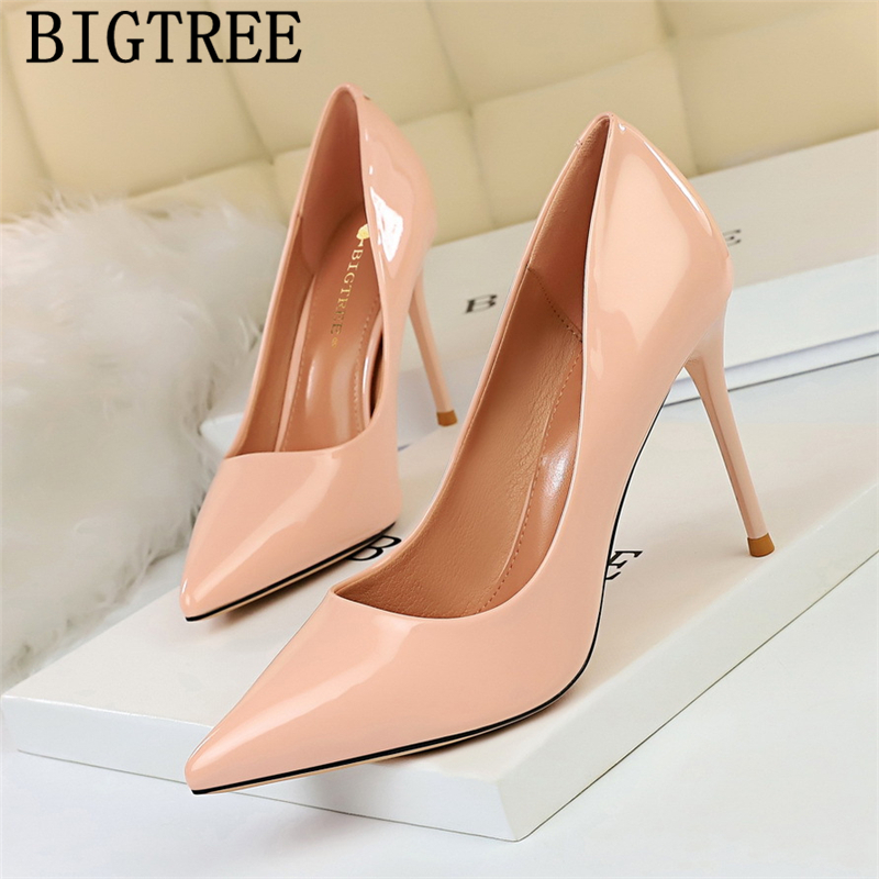 Fashion White Heels Office Shoes Women Pointed Toe Pumps Women Shoes Stiletto Super High Heels Formal Shoes Women Patent Leather