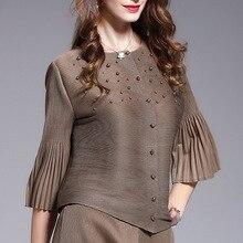 Jacket Women Short-Style Single-Breasted Summer LANMREM Flare YJ487 Three-Quarter-Sleeve