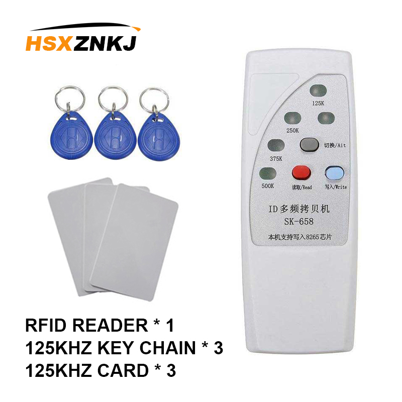 RFID Access Control Card Reader Handheld ID Duplicator Can Copy 125khzID Reader 3ID Card + 3ID Keychain Suit