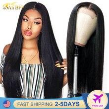 Прямой Синтетические волосы на кружеве парики 28 дюймов 4x4 кружева закрытие парик с прямыми парик человеческих волос 13x4 прямые Синтетически...