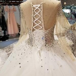 Image 5 - LSS029 свадебные платья с блесткамитяжелое кристаллическое красивейшее платье венчания быстро грузя о шею длиннюю втулку зашнуруйте вверх назад дешевое просто платье 2018 от фарфора