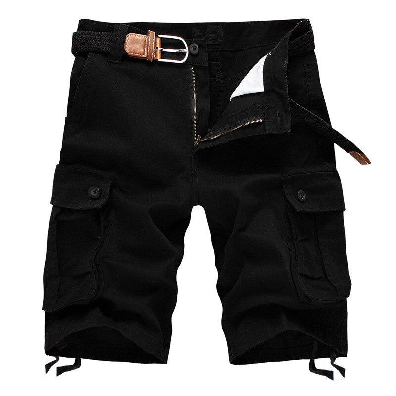 2020 Summer Men's Military Cargo Shorts Male Baggy Multi Pocket Cotton Black Tactical Shorts Short Pants 29-44 No Belt