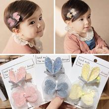 2Pcs New Korean Kids Heart Bow Tie Hair Clips Solid Lovely Glitter Hairpins Full Cover Barrettes Sweet Princess Hair Accessories(China)