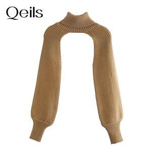 Qeils женские 2021 Мода митенки для вязаный свитер в винтажном стиле с высоким, плотно облегающим шею воротником с длинным рукавом женские пуловеры шикарные топы