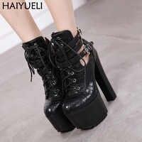Chaussure Femme automne chaussures à semelles compensées pour femmes talons hauts 16cm dames chaussures à talons femmes chaussures à plate-forme noire