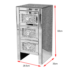 Crystal Diamante Nightstand Mirrored Bedside Tables Cabinet 3 Drawers Side Table