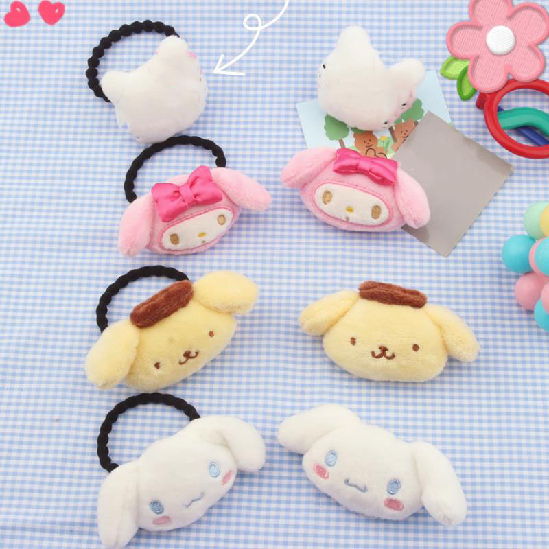 1PC New Japanese Sanrio Series Melody Pudding Cinnamoroll Dog Doll Plush Hair Rope Plush Toys Hairpin Doll For Girl Kid Gifts
