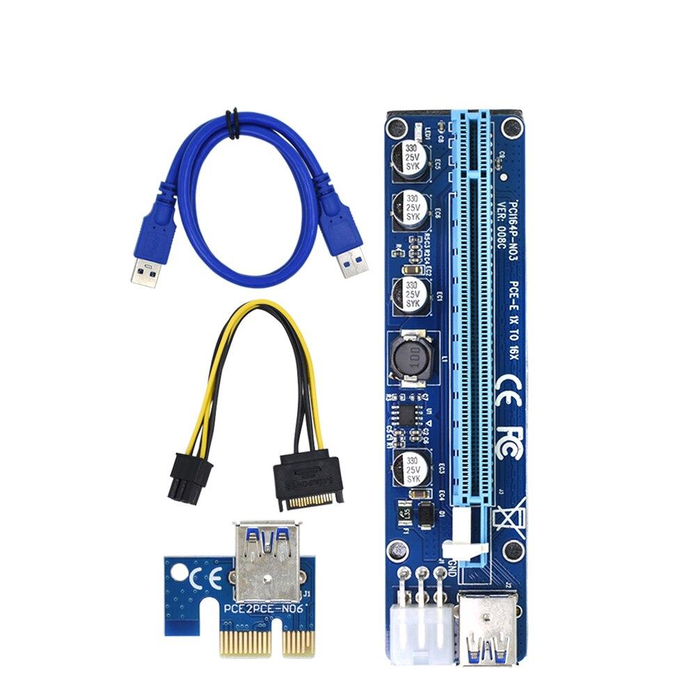 VER008C Molex 6 pin PCI Express PCIE PCI-E Riser Card 008C 1X до 16X удлинитель 60 см USB3.0 кабель Mining Bitcoin Miner