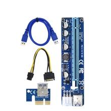 VER008C Molex 6 pin PCI Express PCIE PCI-E yükseltici kart 008C 1X to 16X genişletici 60cm USB3.0 kablo madenciliği bitcoin madenci